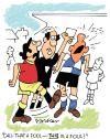Cartoon: Foul play! (small) by daveparker tagged footballers,ref,foul