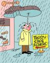 Cartoon: Trusty Shoe Repairs (small) by daveparker tagged leaking,shoe,sign,angry,man,rainy,day