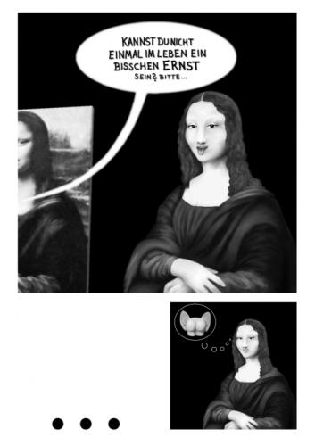 Cartoon: Monalisas dunkle Seite (medium) by papiertiger tagged monalisa,answer,smile,cartoonrookiework