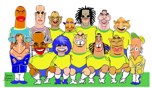 Cartoon: Brazilian football team (medium) by juniorlopes tagged football,caricature,fussball,nationalmannschaft,brasilien,weltmeister,portrait,hommage,illustration,karikatur,künstler,ronaldo,ronaldinho,fallrückzieher,kopfball,traum,weltklasse