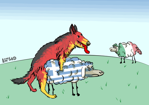 Cartoon: Germany s leading role in Europe (medium) by LeeFelo tagged europa,in,rolle,führende,deutschland,schäferhunde,deutsch,crises,financial,greece,italy,germany,shepherd,german,dog,shagged,sheep