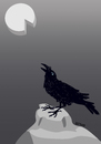 Cartoon: Howling raven (small) by LeeFelo tagged raven,cheese,howling,full,moon,black,hungry,rock,stone,feather