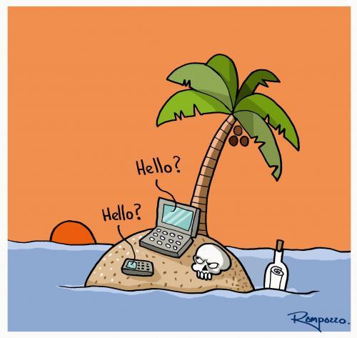Cartoon: conection (medium) by Marcelo Rampazzo tagged conection,insel,gestrandet,einsamkeit,leben,tod,sterben,verhungern,schiffsbruch,computer,technik,technologie,fortschritt,entwicklung,handy,kommunikation,informationsgesellschaft,urlaub