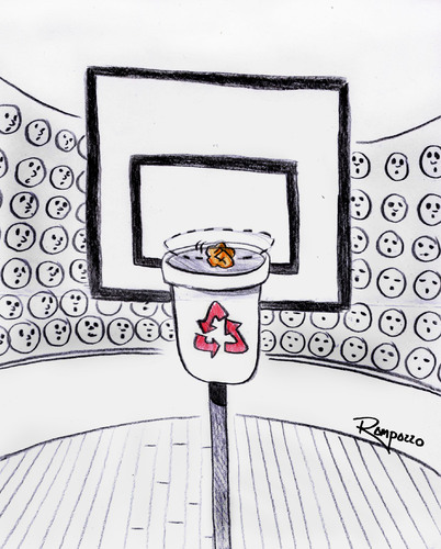 Cartoon: Decisive moment (medium) by Marcelo Rampazzo tagged decisive,moment,recicle,basket,garbage