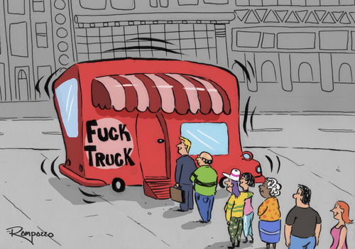 Cartoon Lunch Time Medium By Marcelo Rampazzo Tagged Foodtruckpeople