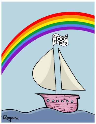 Cartoon: Rainboat (medium) by Marcelo Rampazzo tagged rainboat
