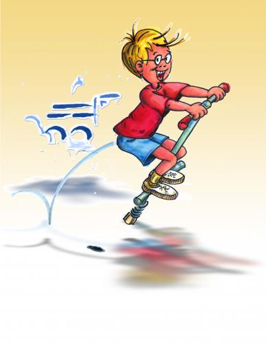 Cartoon: Jumper Pogostick (medium) by neudecker tagged für,bündnis,boy,children,comic,cartoon,character,kids,portrait,illustration,pogostick,jumper,beziehung,familie