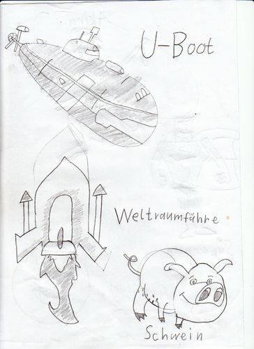 Cartoon: u-boot und schwein (medium) by neudecker tagged zeichnung,cartoon,scribble