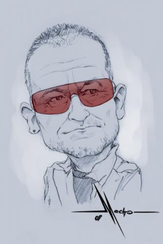 Cartoon: Bono (medium) by Mecho tagged  caricature,caricatura,caricatures,caricaturas,bono,famosos,cantante,musica