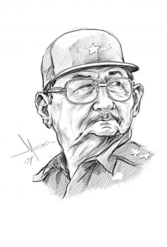 Cartoon: Raul Castro (medium) by Mecho tagged caricatura,caricature