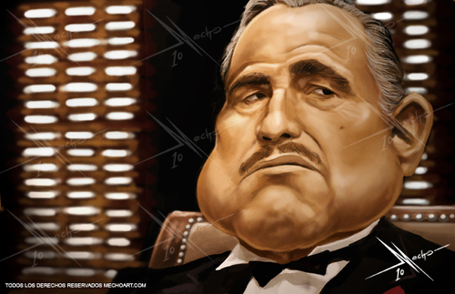 Cartoon: The Godfather (medium) by Mecho tagged the,godfather,don,vito,marlon,brandon