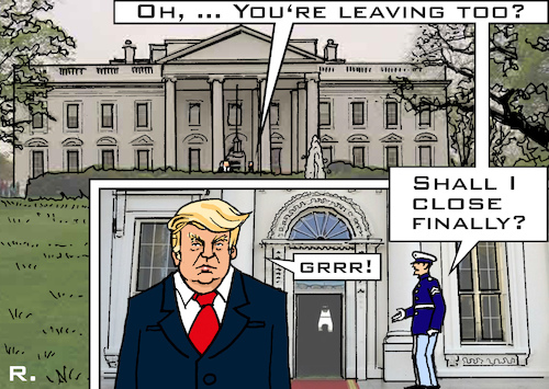 Cartoon: Closing Time at the White House (medium) by RachelGold tagged usa,president,trump,white,house,speakers,team,come,and,go