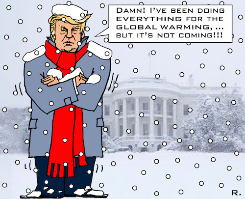 Cartoon: Global Warming (medium) by RachelGold tagged usa,trump,climate,change,global,warming,theory,extreme,temperature,winter,cold,snow,white,house