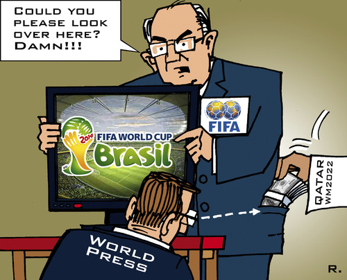 Cartoon: FIFA Diversionary Tactic (medium) by RachelGold tagged soccer,fifa,policy,brasl,qatar,2014,2022,orruption