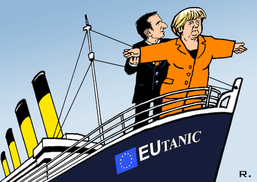 Image result for merkel macron cartoon