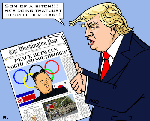 Cartoon: Olympic Peace (medium) by RachelGold tagged korea,northern,southern,usa,olympic,games,trump,washington,post,peace,war,atomic,plans