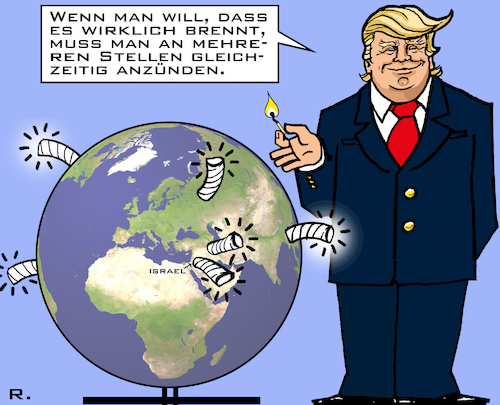Cartoon: US-Zündler (medium) by RachelGold tagged usa,trump,international,feuer,krisen,anzünden,anfachen,weltkrieg