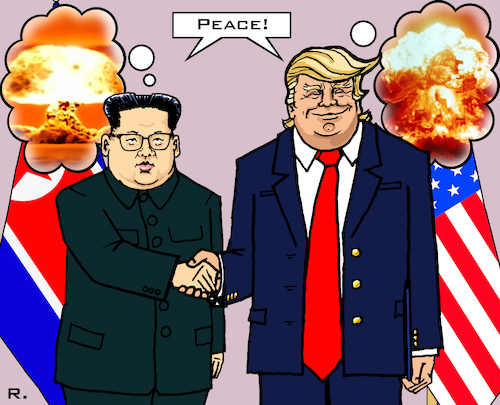 Cartoon: World Peace (medium) by RachelGold tagged usa,north,korea,trump,kim,summit,peace,world,war