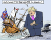 Cartoon: Not-Prime-Minister Boris Johnson (small) by MarkusSzy tagged brexit,britain,eu,referendum,exit,cameron,boris,johnson,resignation,prime,minister,captain,sinking,ship,sabotage