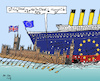 Cartoon: On Total Collision Course (small) by MarkusSzy tagged eu,uk,britain,brexit,no,deal,may,ship,collision,course