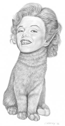 Cartoon: Marilyn Kitty (medium) by jim worthy tagged marilyn,monroe,cat,kitten,hollywood,pencil,illustration