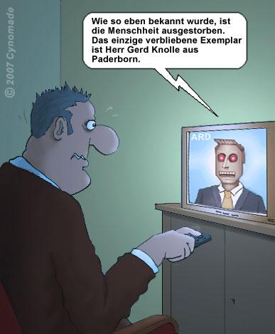 Cartoon: Der letzte Mensch ! (medium) by moonman tagged tv,endzeit,apokalypse