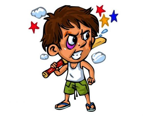 Cartoon: angry cricketer (medium) by chandanitis tagged angry,kid,character
