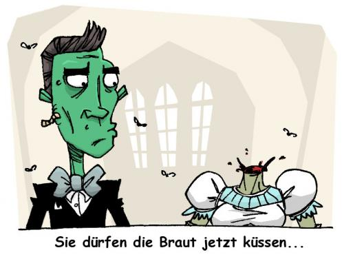 Cartoon: zombie hochzeit (medium) by token tagged hochzeit,zombie,zombies,