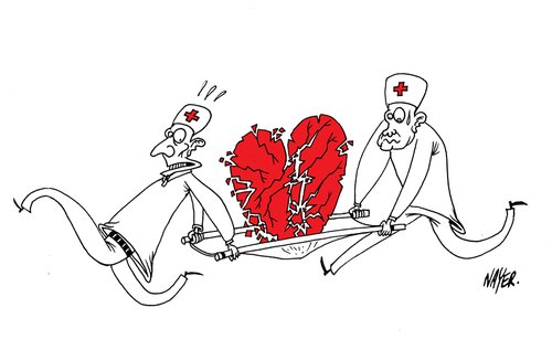 Cartoon: Broken Heart (medium) by Nayer tagged broken,heart,love,aid