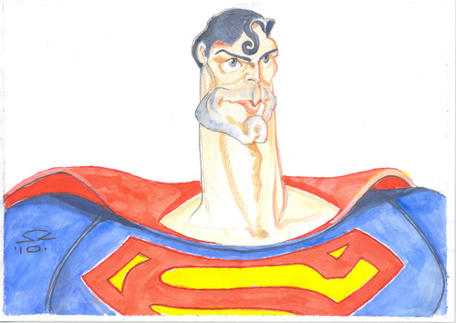 Cartoon: Christopher Reeve (medium) by zed tagged caricature,portrait,superman,actor,hollywood,usa,reeve,christopher