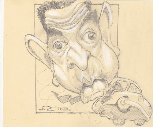 Cartoon: Mr Bean (medium) by zed tagged mr,bean,rowan,atkinson,london,great,britain,komedy,actor,artist,famous,people,portrait,caricature