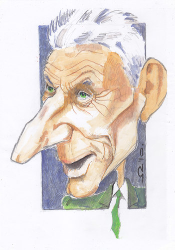 Cartoon: Samuel Beckett (medium) by zed tagged samuel,beckett,dublin,ireland,paris,france,writer,portrait,caricature