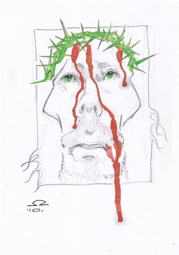 Cartoon: The suffering Jesus (medium) by zed tagged jesus,betlehem,palestine,israel,suffer,love,bible