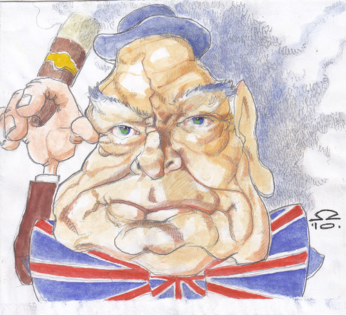 Cartoon: Winston Churchill (medium) by zed tagged winston,churchill,oxfordshire,great,britain,politician,prime,minister,second,world,war,famous,people,portrait,caricature