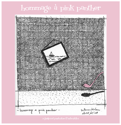 Cartoon: hommage a pink panther (medium) by schmidibus tagged pink,panther,rosaroter,paulchen,comic,henry,mancini,blake,edwards,zeichentrickfilm
