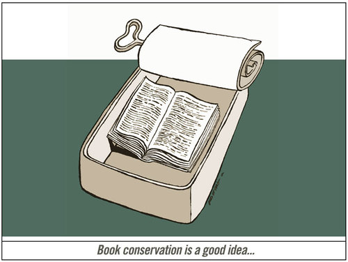 Cartoon: Book_conservation (medium) by firuzkutal tagged freedom,of,speech,fish,conservation,conserve,media,head,expression,kutal,firuzkutal,book,demonstration,protestmeeting,scream,voice,travel,worlds,word