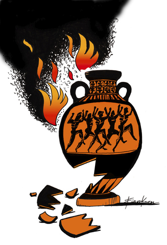 Cartoon: Greece is burning (medium) by firuzkutal tagged kutal,firuz,lifestyle,money,economy,crisis,finance,eu,hellas,greece