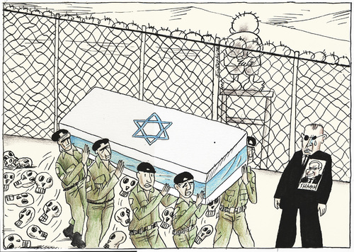 Cartoon: Sharon dies after 8-year fight (medium) by firuzkutal tagged hero,criminal,war,palestine,israel,kutal,firuz,sharon,ariel