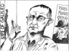 Cartoon: Bertolt Brecht (small) by firuzkutal tagged bertolt,brecht,german,marxist,poet,playwright,theatre,kurt,weill
