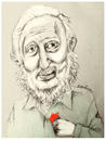 Cartoon: Fidel Castro (small) by firuzkutal tagged red,fidel,castro,cuba,kuba,revolution,president,military,havana,batista,communist,paul