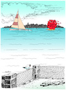 Cartoon: I send you my loves (small) by firuzkutal tagged love,sea,sending,greeting,firuz,kutal,boat