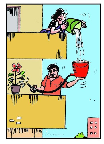 Cartoon: Save Water (medium) by B V Panduranga Rao tagged save,water