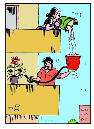 Cartoon: Save Water (medium) by B V Panduranga Rao tagged save,water