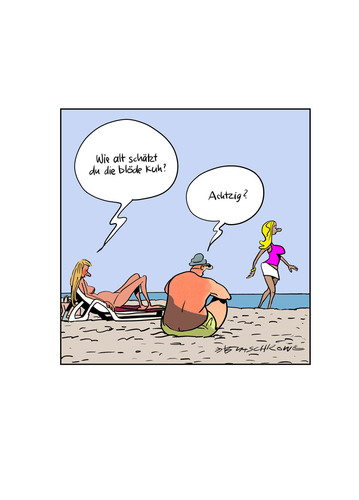 Cartoon: Bloß nichts Falsches sagen... (medium) by Butschkow tagged strand,beach,beziehungen,relationship,peter,butschkow,cartoon,woman,couple,hot,girl,sexy