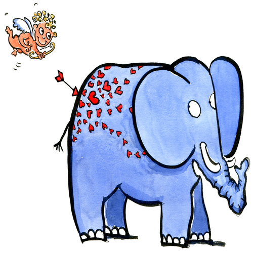 Cartoon: Amore (medium) by Frits Ahlefeldt tagged love,elephant,valentine,heart,cartoon,hikingartist
