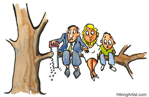 Cartoon: Cutting the branch (medium) by Frits Ahlefeldt tagged conflict,angry,man,tree,cutting,branch,family,children,quit,saw,businessman