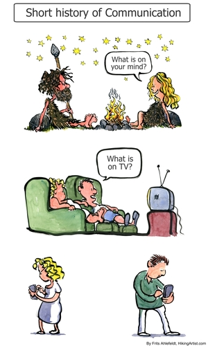 Cartoon: From Fireside to Phone (medium) by Frits Ahlefeldt tagged facebook,twitter,communication,marriage,love,couple,man,woman,phone,fire