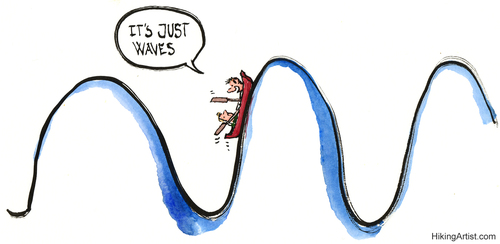 Cartoon: It is only waves (medium) by Frits Ahlefeldt tagged turbulence,times,boat,society,friends,comfort,coaching,sea,vaves