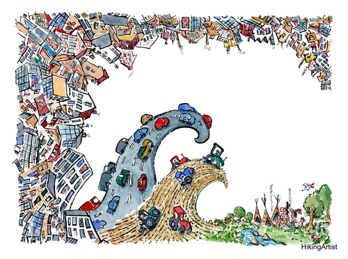 Cartoon: waves of urban life (medium) by Frits Ahlefeldt tagged eco,ecology,sustainability,indians,city,town,cityplanning,urbanity,architecture