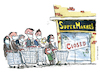 Cartoon: Cue in front of the supermarket (small) by Frits Ahlefeldt tagged covid19,cue,facemask,covid,corona,pandemic,hoarding,fear,shopping